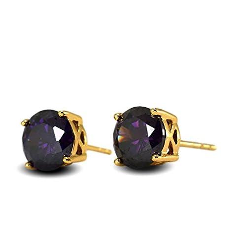 Blue Diamond Club - Dark Amethyst Purple 18ct Gold Filled Stud Earrings Womens 7mm Zircon