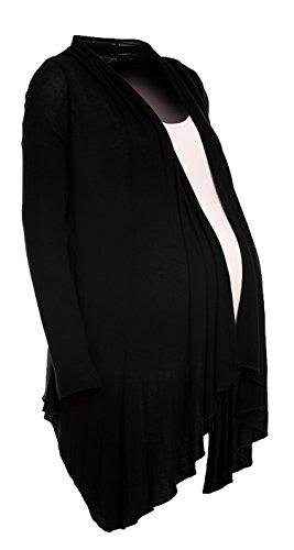 Happy Mama. Femme Maternité Gilet Grossesse Cardigan Cascade Maille Fine. 953p Noir