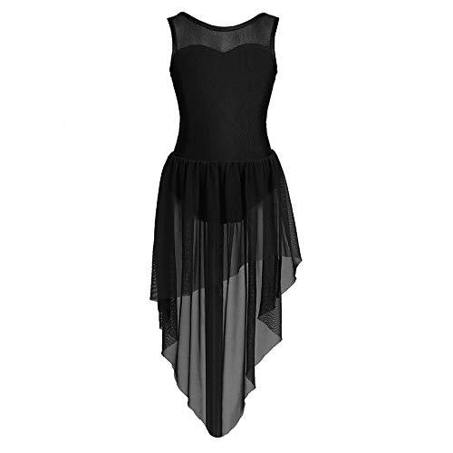 Ballett-Ballettröckchen-Tanztrikot-Kleid ärmelloses High-Low-Saum Mädchen Gymnastik-Trikot Bühne Lyrische Tanzkostüme,Black,4 ()