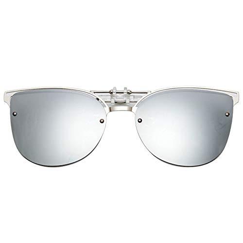 Sonnenbrille,Cat Eye Sonnenbrille Clip Auf Frauen Männer Polarisierte Spiegel Objektiv Uv 400 Sonnenbrille Clip Brillen Designer Für Das Fahren Silber