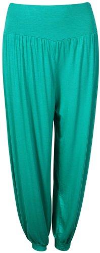 Purple Hanger - Pantalon Ali Baba Sarouel Femme Elastique Resserré Cheville Hanche Pleine Longueur Grande Taille Vert Jade