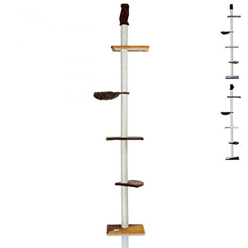 LCP XXL Katzen Kratzbaum Kletterbaum deckenhoch groß | 240-270 cm Höhe | 8 cm Dicke Sisal Säulen; Braun