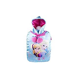 Character Deluxe Hot Water Bottle and Cover Set Range- Choose Your Option. (Disney Frozen Alsa & Anna Face Blue Designs (1L))