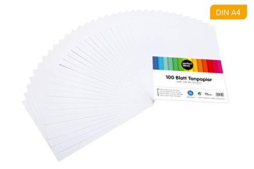 perfect ideaz 100 Blatt weißes DIN-A4 Ton-Papier, Ton-Zeichen-Papier weiß, weisse Blätter in 130g/m², Bastel-Bogen white, Zubehör-Set zum Basteln, Material durchgefärbt, DIY-Bedarf -