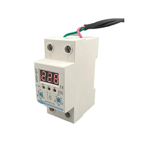 DLQHWY Leistungsschalter 40A 220V Adjustable Automatic Reconnect Over Voltage And Under Voltage Protection Device Relay With Voltmeter Voltage Monitor Monitor Relay