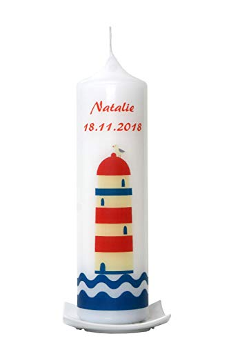 Taufkerze großer Leuchtturm, Taufkerze 25x7cm / Taufkerze für Mädchen/Taufkerze für Jungen -