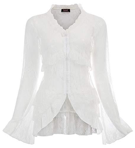 SCARLET DARKNESS Damen Spitze Mantel Strankleid Strickjacke Steampunk Gothic Jacke mit Schalkragen Langarm Leichte Luftig Weiß M