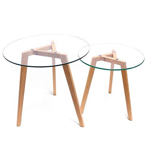 MaisonMaligne - Lot de 2 Tables Basses Rondes en Verre et Chêne Massif - Set de 2 Tables Gigognes - Style Scandinave - Dimensions: 55x55 cm et 45x45 cm - A Monter soi-même ! - Garantie Top Qualité !