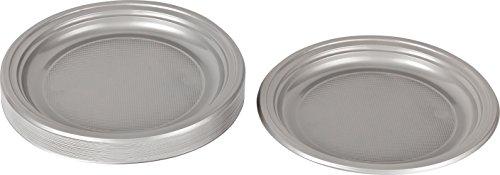 Kigima Einweg Teller Kunststoff Silber, 30 STK, DM 22 cm