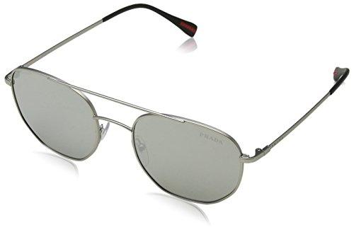 Prada Sport Herren 0PS56SS 1AP2B0 53 Sonnenbrille, Silber (Matte Light Grey Silver)