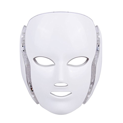 Frcolor Máscara facial LED Photon Therapy 7 colores luz tratamiento de la piel Cuidado Rejuvenecimiento faciales blanqueamiento instrumentos con enchufe de la UE (blanco)
