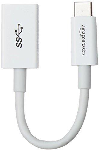 AmazonBasics - Adapterkabel, USB-Typ-C-Stecker auf USB-Buchse, USB 3.1, 1. Generation, Weiß
