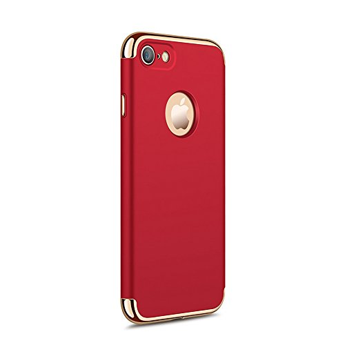 UKDANDANWEI Apple iPhone 7 Luxe 3 In 1 Hybrid Dur PC Etui Protecteur Bumper Housse avec Electroplate Plating Mirror Back Coquille Ultra Mince Protective Plastique Case Cover Anti-Scratch et Anti-Slip  Rouge