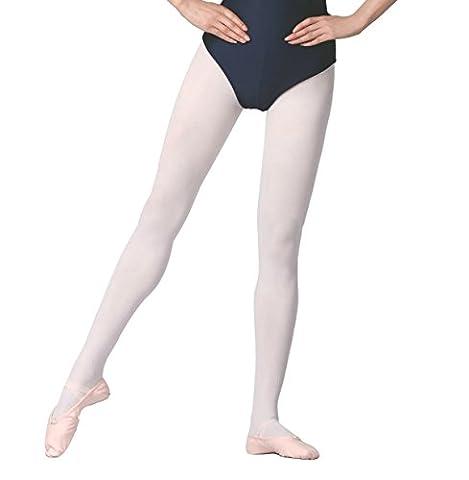 Collants De Danse / Ballet Avec Pied Pour Enfants Et Adultes (Blanc, M / 8-14 ans)