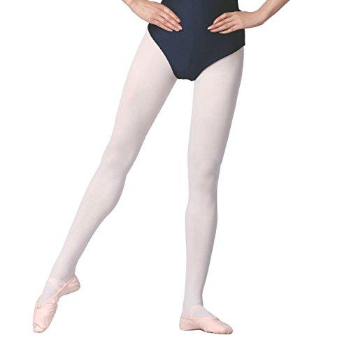 GUTANG-DC Calze per Ballerine di Danza Classica Senza Cucitura Danza Collant Balletto Bimba Donna (bianco, S(altezza:110cm-125cm))