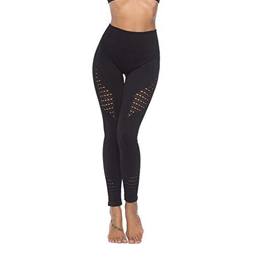 EUCoo Yogahosen der Frauen, die Trainingseignung Laufen Lassen, dehnen Strumpfhosenhüften-Sportkleidung(Schwarz, M)