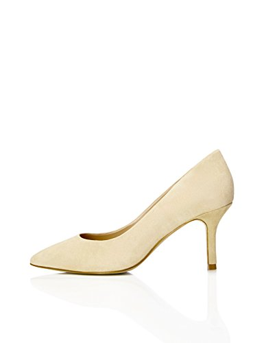 FIND Pumps Damen High Heels Aus Veloursleder, Beige, 38 EU
