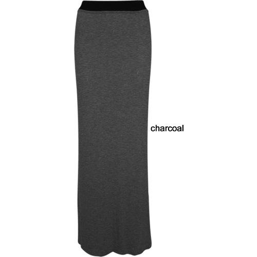 Femme Plus Big Taille long Gypsy Maxi Jupes Mesdames Jersey Décontracté robe Bodycon Noir - Charbon