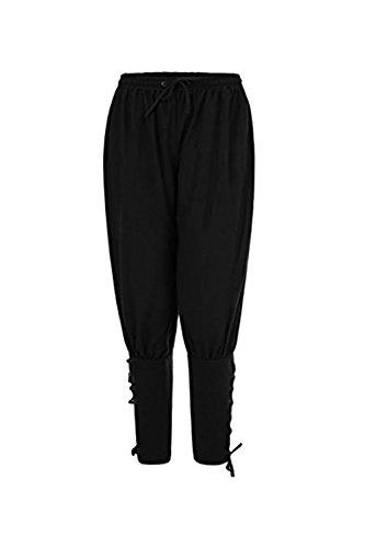 Pantalones de Hombre Medievales Pantalones Vikingo Pantalones Harem Hombres Suelto Negro/Verde/Marron