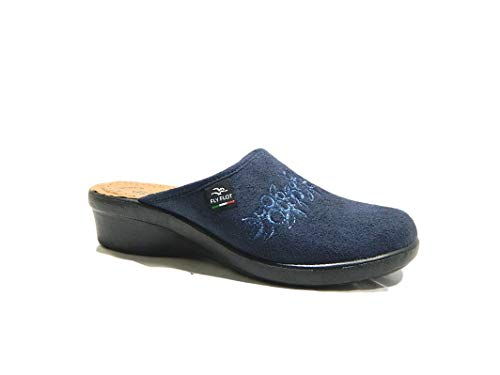 Fly flot l7856 we blu ciabatte donna made in italy sottopiede vera pelle anatomico anti shock zeppa 4 cm blu 39