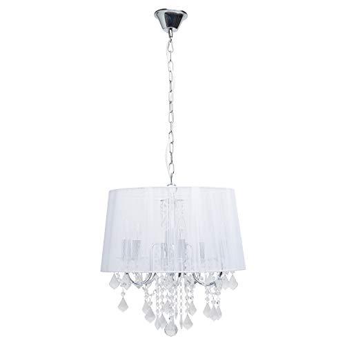 MW-Light 379017805 Lampadario Pendente Classico Colore Cromo Bianco Paralume Stoffa Gocce Cristallo Stile Barocco 5 x 60W E14 Escl