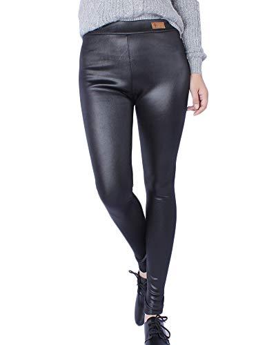 Quge Damen Dehnbar Leggings Skinny Pu Leder Leggings Hohe Taille Lederhosen Plus Size Übergröße Schwarz 5XL
