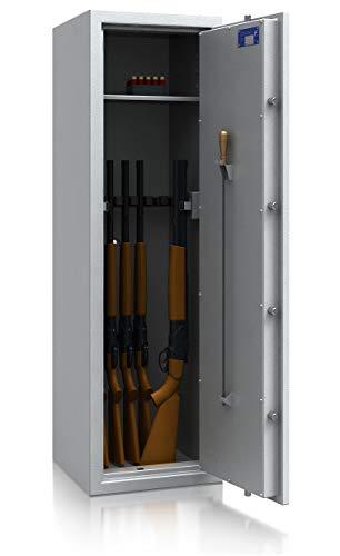 TRESORO Waffenschrank Klasse 0/N EN 1143-1 Secureo Hawk 9 XL | Schlüsselschloss | für 9 Langwaffen und Kurzwaffen inkl. Munition | 1500x450x450 | 165 kg