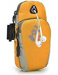 Sports running jogging gimnasio Armband brazalete titular bolsa para teléfonos móviles (Amarillo)