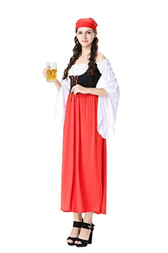 Honeystore Damen Halloween Kostüme The Munich Oktoberfest Dienerin Rotkäppchen Uniform Cosplay Allerheiligen Kleider für Oktoberfest (Kostüme Superhelden Paare Halloween)