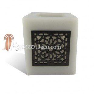 Medina Souvenirs Photophore cube gris motif carré mouchaibieh