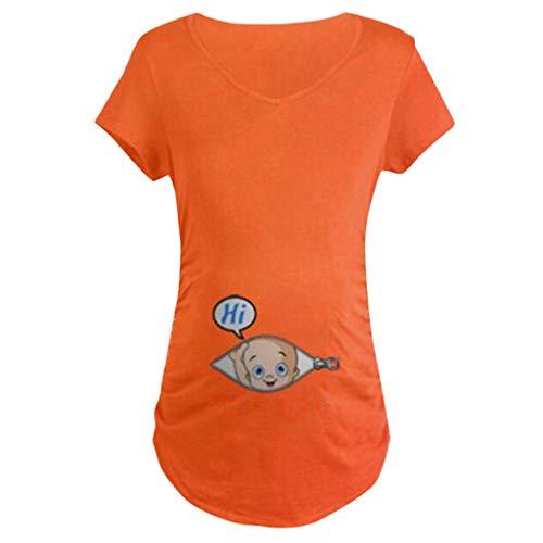 WUSIKY Sommer Top Damen Mom Shirt Mutterschaft Baby im T-Shirt mit T-Shirt Druck Schwangerschaft Rundhals-Tops Elegante Casual Bluse 2019 NewUmstandsmode