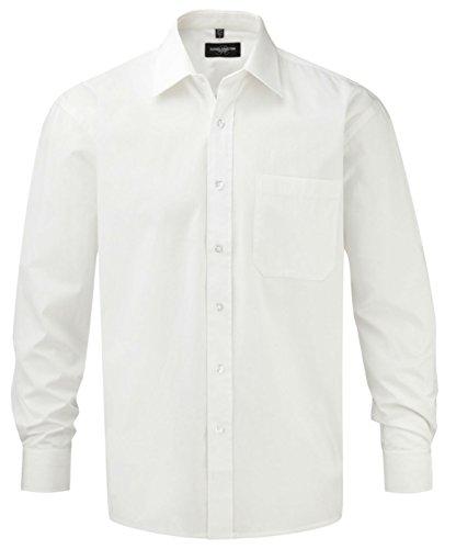 Russell Collection à manches longues pour homme Entretien facile, 100%  coton-T-Shirt en popeline Blanc - Blanc
