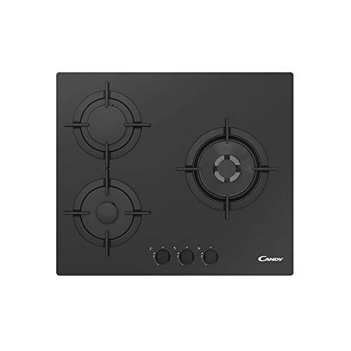 Candy CVG 63swpn eingebaut Gas-Kochfeld schwarz-Platte (integrierte, Gas-Kochfeld, Glas, Schwarz, 1000W, rund)