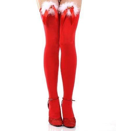 Damen - Überknie Strümpfe Weihnachten Stil Gestreift - Rot / Plüschschleife, Einheitsgrösse
