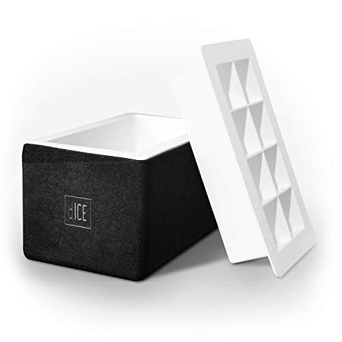 dICE Cube Maker (schwarz) - Eiswürfelform aus BPA freiem Silikon für 8 glasklare Eiswürfel in der Größe 5cm x 5cm x 5cm (Made in Germany)