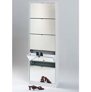 schuhschrank mit spiegel no name 0831 005sp weiss matt