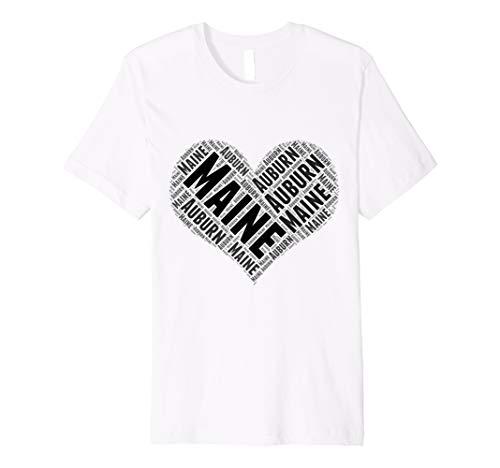 Auburn Damen T-shirt (State Heart MAINE Tshirt AUBURN Tshirt Home Tee)