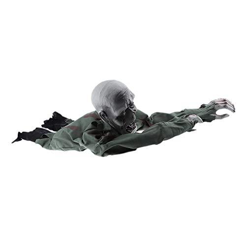 Baoblaze Horror Kriechender Zombie Geist Deko Figur Halloween Spielzeug mit Leuchten Augen und Schreie