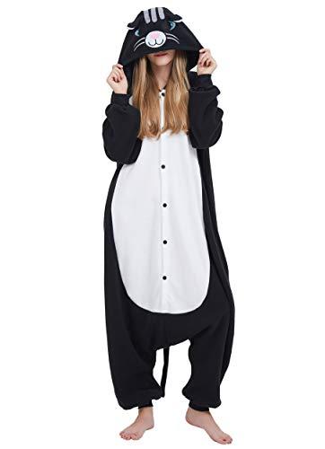 Karton Fasching Halloween Kostüm Sleepsuit Cosplay Overall Pyjama Schlafanzug Erwachsene Unisex Lounge Kigurumi Schwarz Katze for Höhe 140-187CM ()