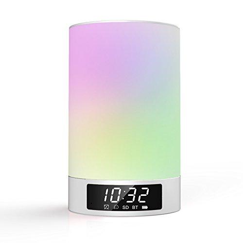 Nachttischlampen, Dreamix All-in-1 Tragbarer Kabelloser Bluetooth Lautsprecher, dimmbare Tischleuchte, Lichtwecker, LED Zeitanzeige, unterstützt TF/microSD-Karte (L5 Silber) - Zurück Sleeper