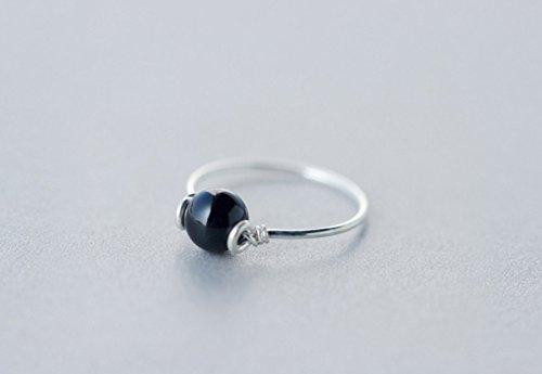 Frau 925 Sterling Silber Ringe Perle Achat Ring Fingerring,BlackAgate-15