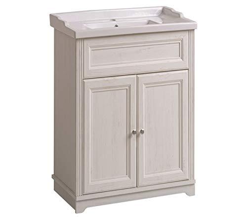 Jadella Waschbeckenunterschrank \'Nevio W\' Waschtisch Waschbecken Badmöbel 60cm Weiß Pinie