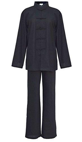 Damen Blaumwolle Tai chi, Qi Gong, kung fu Anzug schwarz M