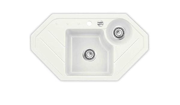 Kera Domo Sinus Polar Cushion Corner Sink With Strainer Cut Out Dimensions 870 X 480 Mm Systemceram Pottery Ceramic Sink Amazon Co Uk Diy Tools