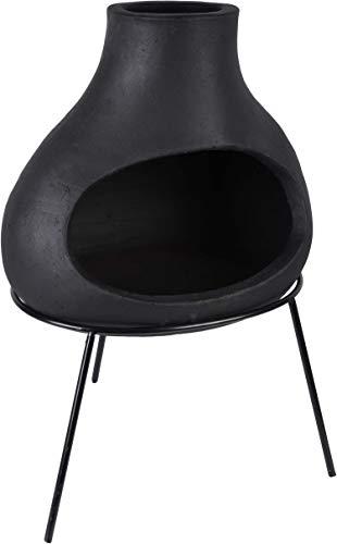 Esschert Design Kamin aus Terrakotta, Schwarz