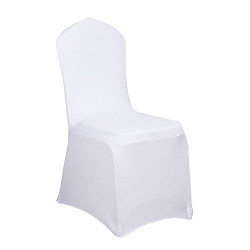 Hengmei - nastro coprisedia universale elasticizzato, per matrimoni e feste, decorazione di compleanno, bianco, 100 pezzi
