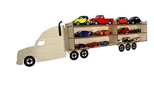 BABEES Setzkasten für Autos/Modellautos/Spielzeuge wie z. B. Hot Wheels, Sammelvitrine aus Holz, Wandregal Wandvitrine zum Aufhängen, Aufbewahrungsbox Schaukasten LKW
