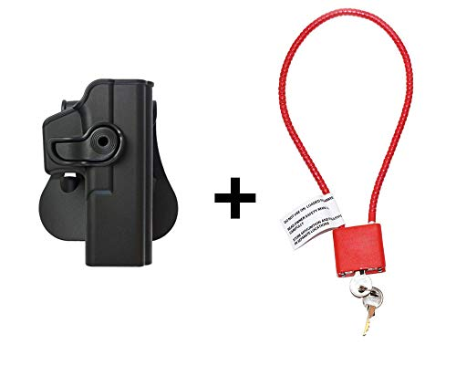 Glock 17 Holster & Cable Gun Lock, Level 2 Safety retention w trigger guard lock, 360 roto paddle polymer Holster Fits Glock 17/22/28/31/34 Gen 4 & 5 compatible -