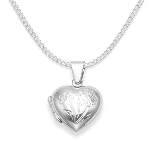 Médaillon cœur pour enfant en Argent sterling 925- Chaîne en argent de 38,1cm- Médaillonqui s'ouvre -Taille: 15mm x 13mm. Boîte cadeau B43/8020/15