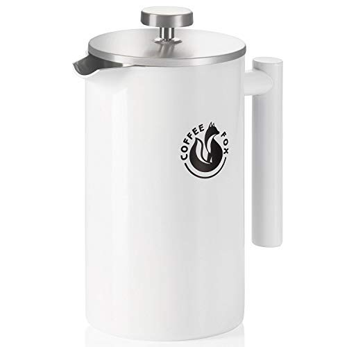 French Press Kaffeekanne aus doppelwandigem Edelstahl Weiße Pressfilterkanne Französische...